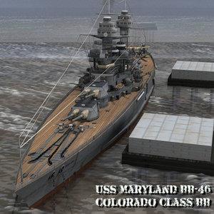 3D uss maryland bb-46 poser model