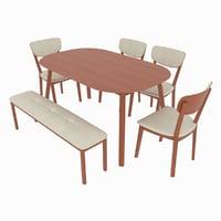 dining set table kaori 3D model