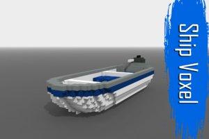 ship voxel low-poly 3D model