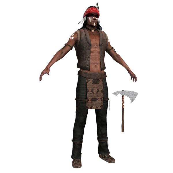 3D native american man