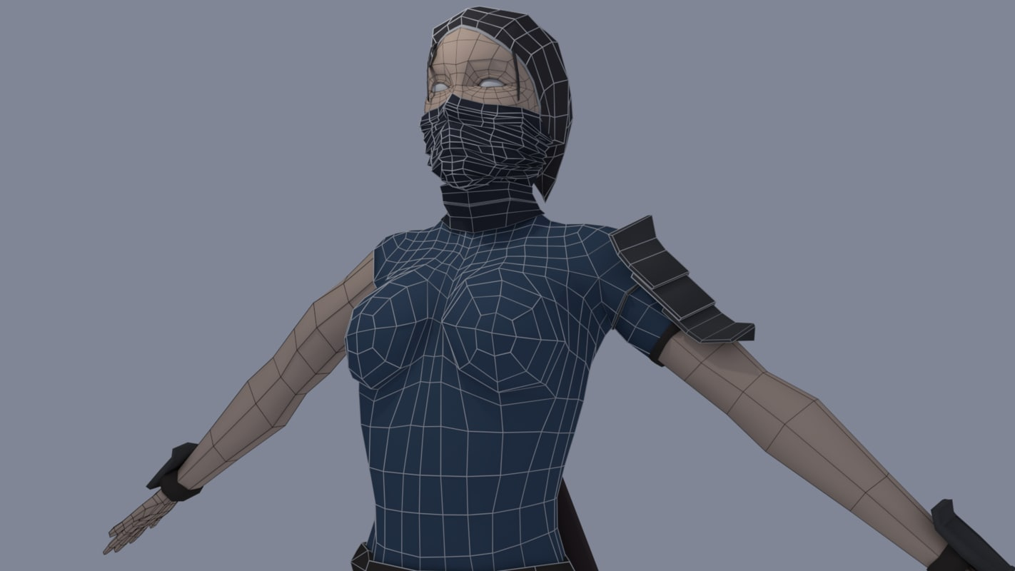 3D female assassin character model