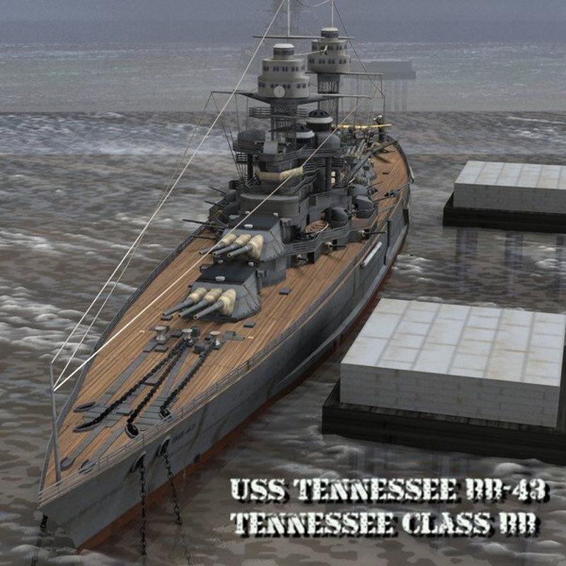 uss tennessee bb-43 poser 3D model