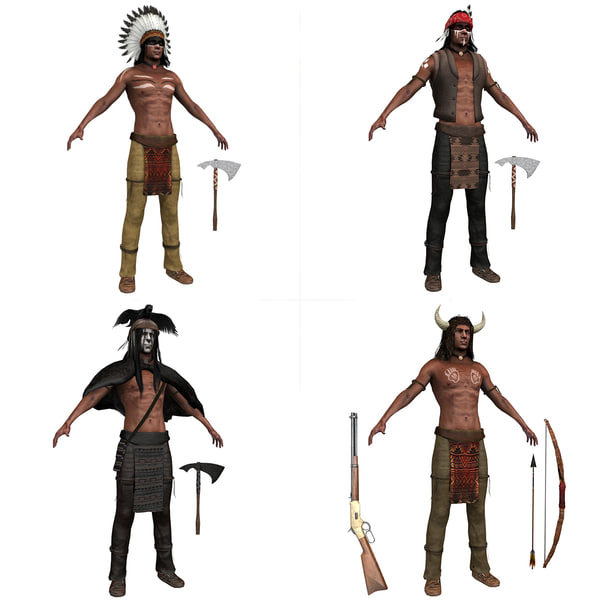 native american pack indian 3D model