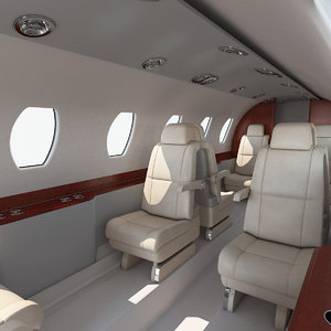 3D model business jet interior