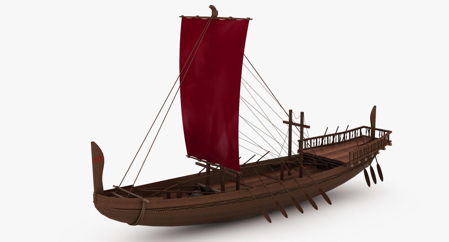 3D ancient egyptian merchant ship model