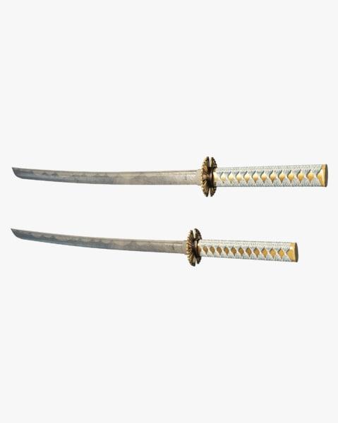 3D japanese katana swords