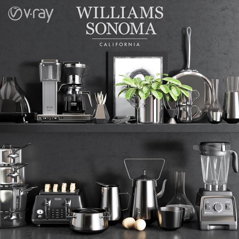 williams sonoma chrome set 3D model