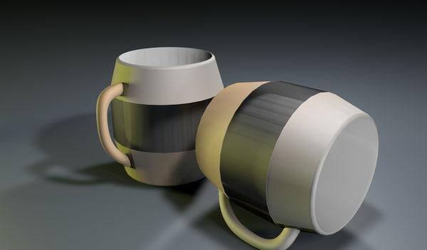 white modern mug 3D model