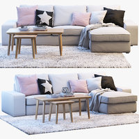 3D ikea kivik two-seat sofa chaise