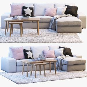 3D ikea kivik two-seat sofa chaise