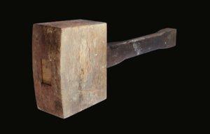 3D model wooden mallet