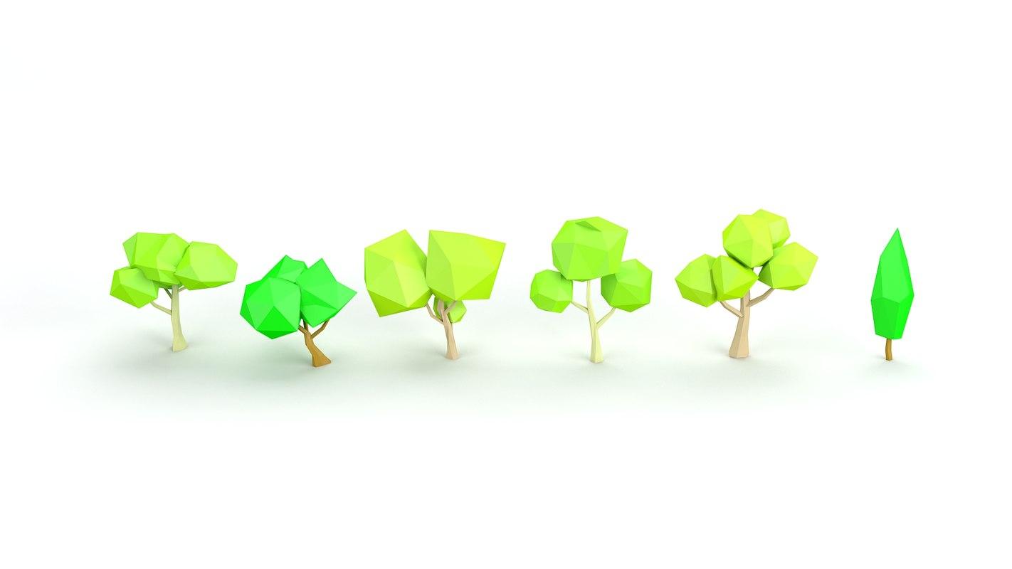 cartoon tree toon 3d model