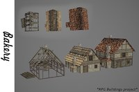 3D medieval bakery buildings