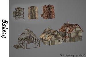 3D medieval bakery buildings
