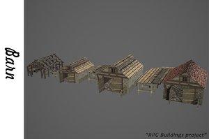 medieval barn buildings 3D