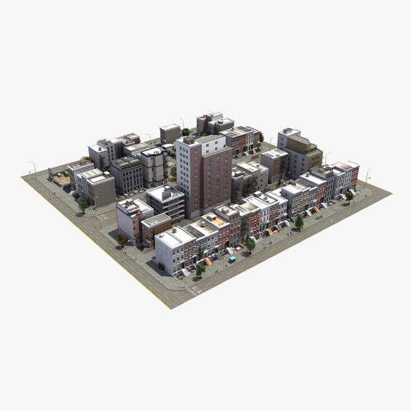 residential city block 3D
