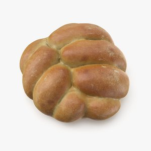 3d model plaited bread roll