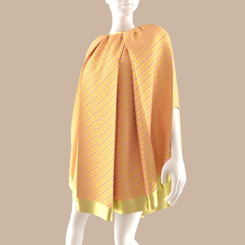 3D model dress folds fabric
