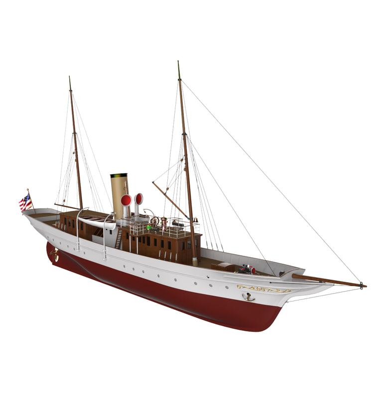 luxury steam yacht medea 3D model