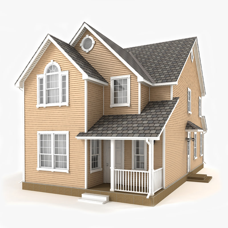 3D model two-story cottage 51