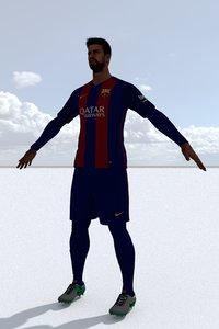 footballer football 3D model