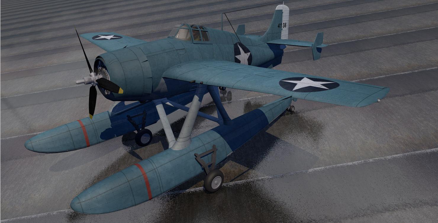 plane grumman f4f-3s wildcatfish 3D model
