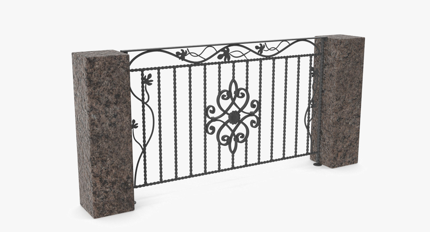 3D high-poly metal fence