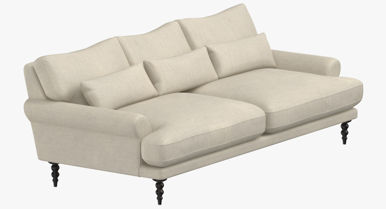 3D model traditional 5 seater sofa