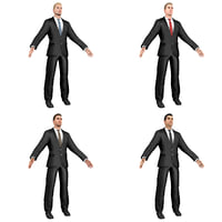 pack young businessman man 3D model