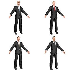 pack young businessman man 3D model