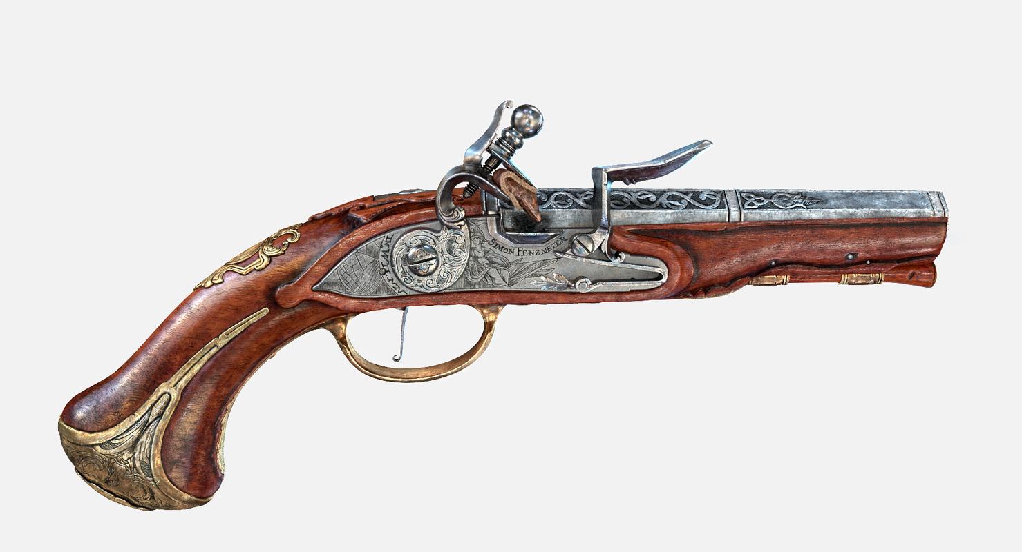 austrian flintlock pistol 3D model