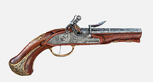 austrian flintlock pistol 3D model