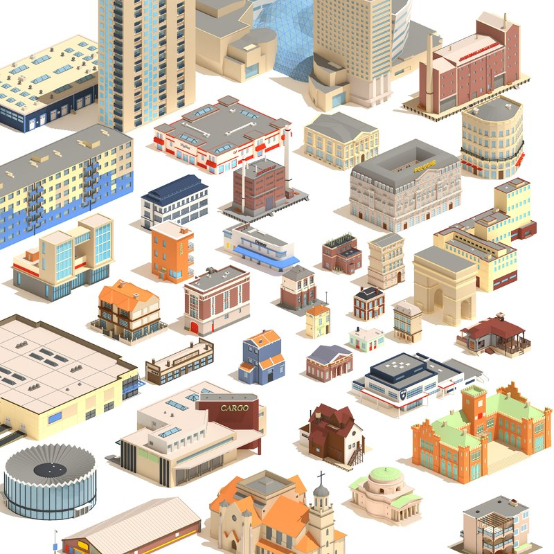 pack buildings cartoon 3D model