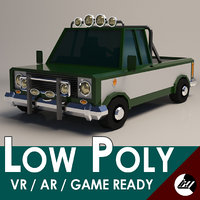 Low-Poly Cartoon Pickup Truck