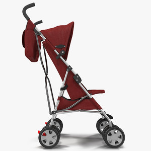 3d baby stroller red