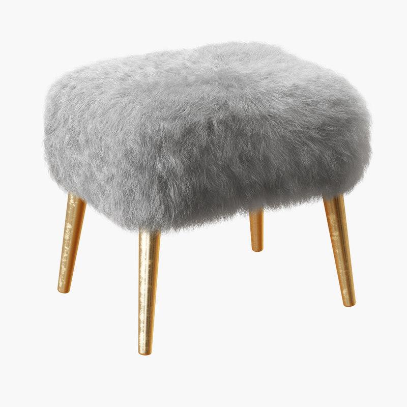 3D wool mongolian lamb stool