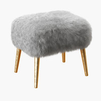 3D wool mongolian lamb stool