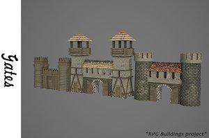 3D medieval gates model