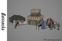 3D medieval barracks buildings