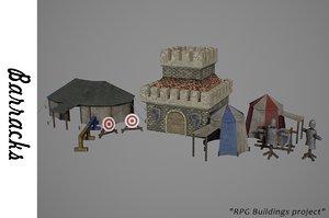 3D medieval barracks buildings