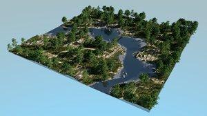 3D river bays blender