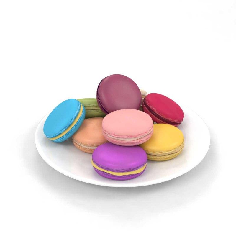 3D model macaron biscuit food dessert