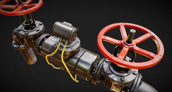 3D pbr modular pipes set model