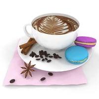 3D coffee macaron model