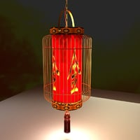 lighting lantern chinese red model