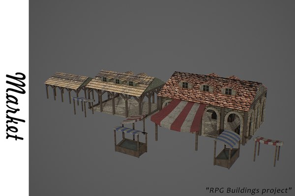 medieval market buildings 3D model