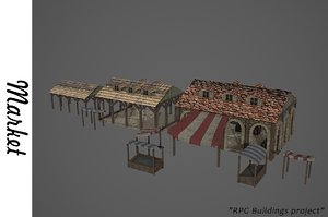 medieval market buildings 3D model