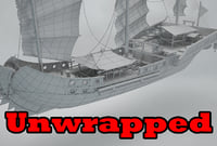 3D model unwrapped ship