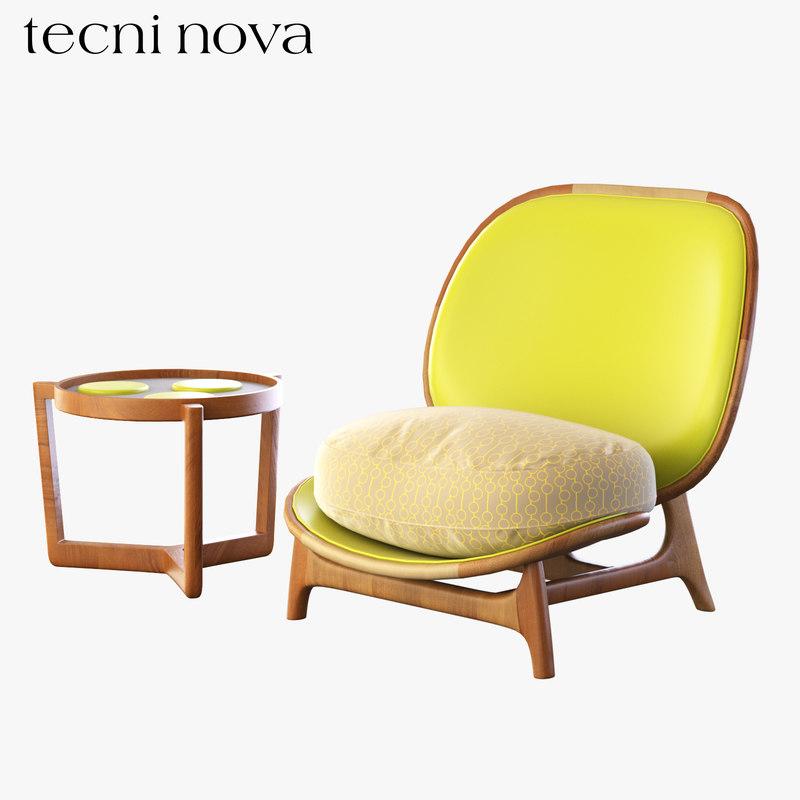 3D armchair table outdoor model