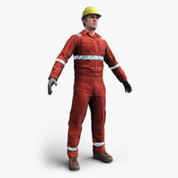 3D offshore oil worker